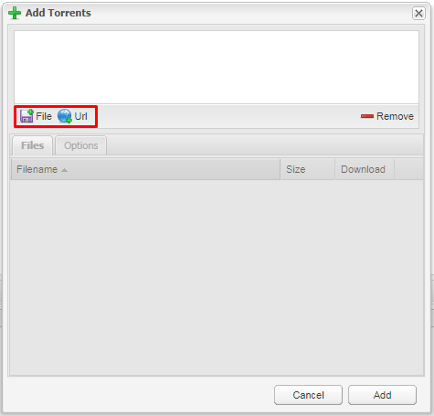 Add by a .torrent file or magnet URL