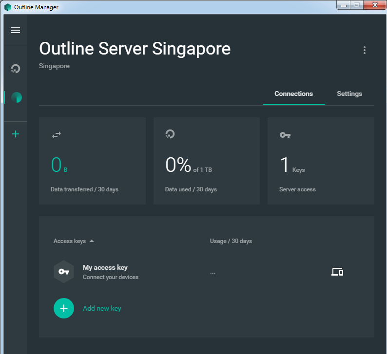 Outline VPN server interface