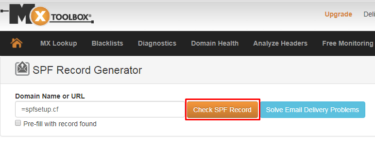 SPF record generator by MXToolBox