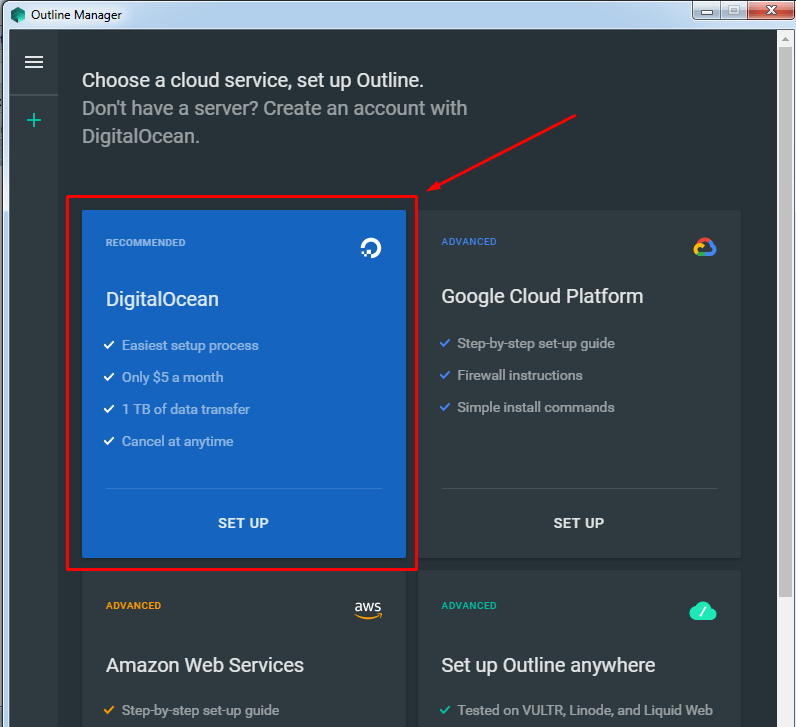 Select DigitalOcean Droplet