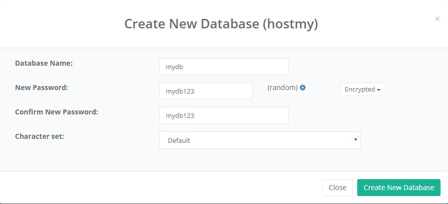 Database create form